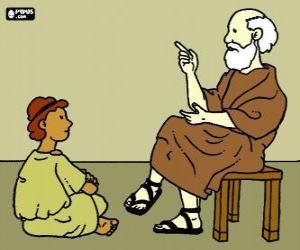 puzzel Professor of leraar, zittend op een krukje, een jonge jongen te leren, op de grond zitten
