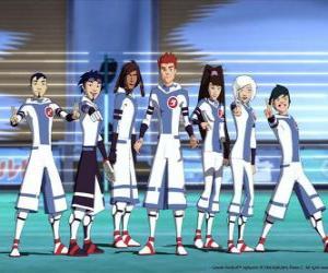puzzel Protagonisten van de avonturen van Galactische voetbal, enkele van de sneeuw Kids team op de planeet Akillian spelers