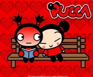 puzzel Pucca en Garu zittend op een bankje in het park