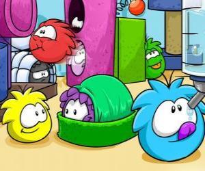 puzzel Puffles huisdieren in de Club Penguin