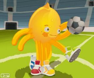 puzzel Pypus spelen voetbal