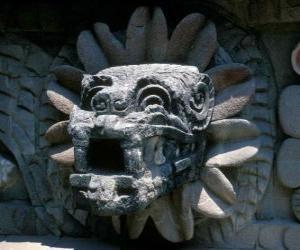 puzzel Quetzalcoatl, de Azteekse god van het leven, de gevederde slang
