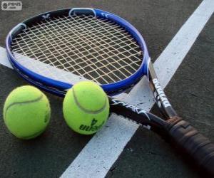 puzzel Racket en tennis ballen