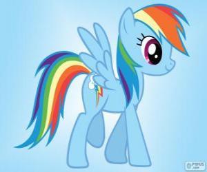 puzzel Rainbow Dash, een pegasus pony met de staart van de regenboog