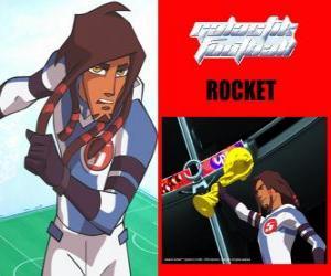 puzzel Raket is de aanvoerder van het voetbalteam Galactische Snow-Kids met nummer 5