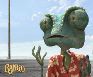puzzel Rango is een huisdier kameleon die woont in een terrarium dat eindigt in de woestijn