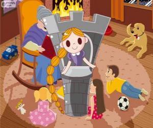 puzzel Raponsje. De langharige prinses in de toren