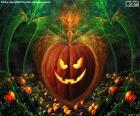 Typische Halloween pompoen