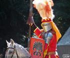 Middeleeuwse ridder op een paard
