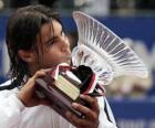 Rafa Nadal whit een trofee