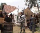 Krijger beschermd met harnas en helm en gewapend