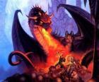Dragon gooien vuur door de mond