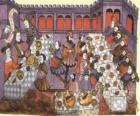 Scene van een middeleeuws diner in de salon van het paleis of kasteel