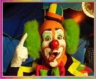 Gezicht van clown met pruik, hoed en groten neus en mond