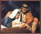 Geboorte van Jezus - Het Kindje Jezus met Maria, zijn moeder en zijn vader Jozef