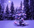 Kerst bomen in een besneeuwd landschap met de maan aan de hemel