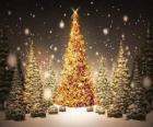 Groot gouden kerstboom
