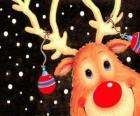 Het hoofd van Rudolf, de rode neus rendieren, versierd met kerstversiering