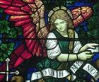 Gebrandschilderd glas met een engel