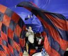 Osasuna vlag is rood en marineblauw