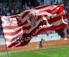 De vlag van de Athletic Club is rode en witte strepen