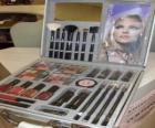 Make-up geval met borstels en blushers
