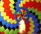 Interieur van een ballon met de vlam