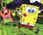 SpongeBob SquarePants en zijn vriend Patrick Star lopen