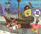 SpongeBob en enkele van zijn vrienden speelt dat piraten