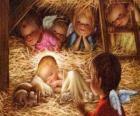 Het Kind Jezus in de kribbe met de bescherming van een engel