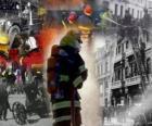 Verschillende foto's van de brandweer