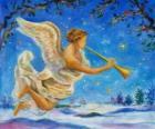 Angel spelen een trompet