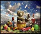 Een teddybeer zittend op een trommel, ballen en andere kostbare geschenken van Kerstmis