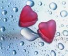 Twee rode harten en regendruppels