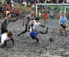 Mud Olympische Spelen, of Wattolumpiad, strijden in de moerassen van de rivier de Elbe