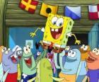 SpongeBob begroet door de inwoners van Bikini Bottom