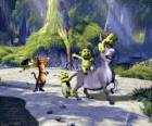 De drie kleine speeltuin, met Donkey en Puss in Boots
