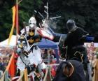 Twee ridders te paard deelnemen aan een toernooi