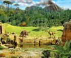 Diverse dinosaurussen met een uitbarstende vulkaan op de achtergrond