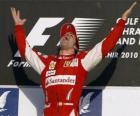 Fernando Alonso viert zijn overwinning in de Grand Prix van Bahrein (2010)