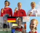 Betty Heidler kampioen kogelslingeren, Tatiana Lysenko en Anita Wlodarczyk (2e en 3e) van het Europees Kampioenschap Atletiek 2010 in Barcelona