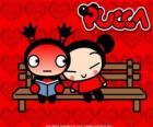 Pucca en Garu zittend op een bankje in het park