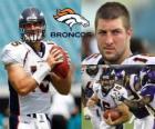 Quarterback Tim Tebow gevoetbald in de Denver Broncos.