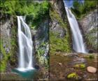 de waterval van Saut Deth foei, tussen 25 en 30 meter hoog de Val d'Aran, Catalonië, Spanje.