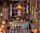 veranda versierd voor Halloween