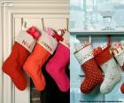 Verschillende opknoping Kerst kousen vol geschenken