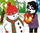 Sneeuwpop zonder pompom neus als hij wil om te eten bij verrassing Penny
