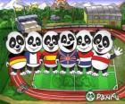 Verschillende Panfu panda T-shirts van een aantal nationale teams