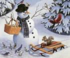 Sneeuwman met een eekhoorn en een aantal vogels in de buurt