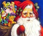 Kerstman met een grote zak vol speelgoed te geven aan kinderen met Kerstmis
